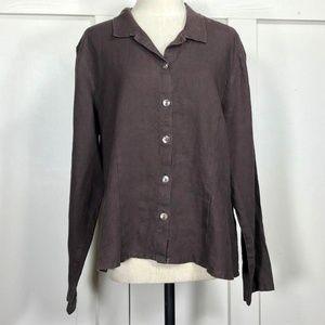 FLAX 100% Linen Long Sleeve Blouse